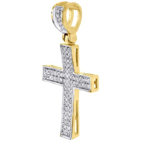 Jewelry For Less Diamond Cross Pendant Real 10K Yellow Gold 0.25 Ct. Pave Concave Charm Image 1