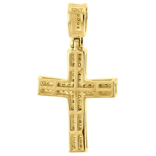 Jewelry For Less Diamond Cross Pendant Real 10K Yellow Gold 0.25 Ct. Pave Concave Charm Image 2