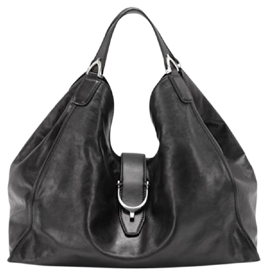 e44783a9c66ae5 Gucci Stirrup Soft Washed Purse Large Black Leather Shoulder Bag ...