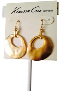 Kenneth Cole NWOT Gold-Tone Matt Hammered Circle Dangle Earrings
