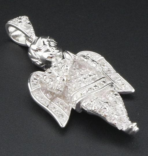 Jewelry For Less Diamond Mini Angel Pendant 925 Sterling Silver Charm .25 Ct w/ Chain Image 1