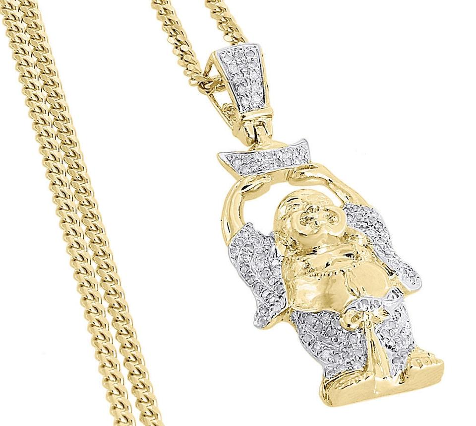 Jewelry for less yellow diamond happy buddha pendant 925 sterling 1234 mozeypictures Images
