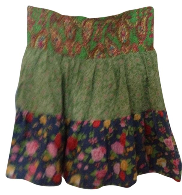 Fire Mini Cover Up Mini Skirt Green and Blue