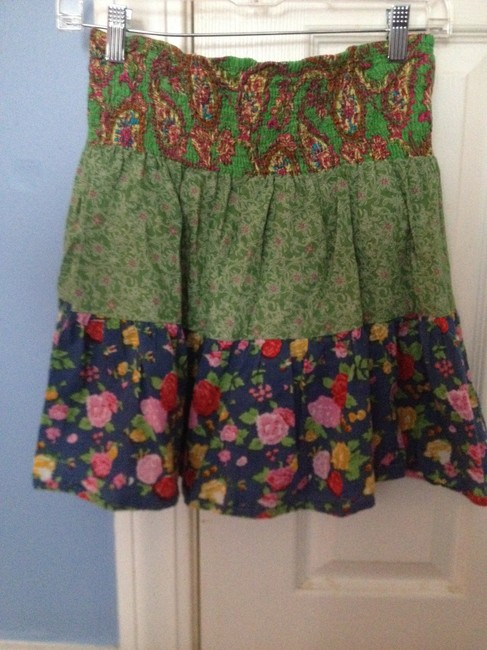 Fire Cover Up Mini Skirt Green and Blue
