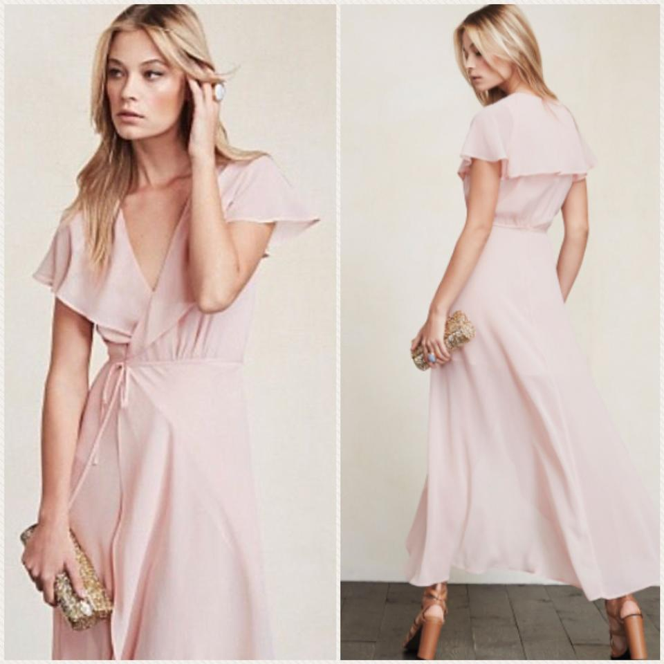Reformation Soft Pink Hardwood Long Formal Dress Size 14 L Tradesy