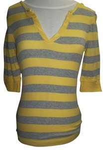 Arizona Striped 3/4 Sleeve V-neck T Shirt Yellow/Gray
