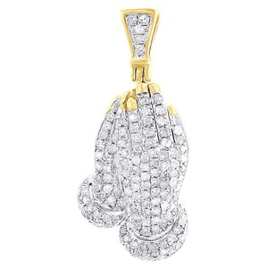 Jewelry For Less Diamond Praying Hands Pendant .925 Sterling Silver Pave Charm 0.45 Ct.