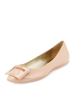 Roger Vivier Patent Leather Ballerine Square Buckle Nude Flats
