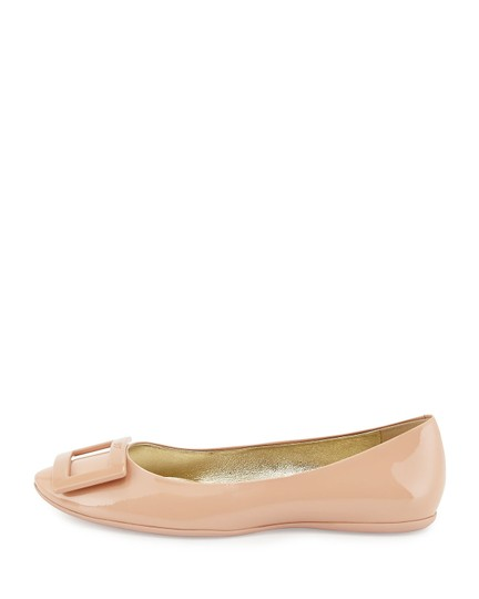 Roger Vivier Patent Leather Ballerine Square Buckle Nude Flats Image 1