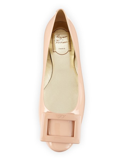 Roger Vivier Patent Leather Ballerine Square Buckle Nude Flats Image 2