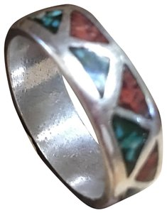 No Brand Turquoise and Coral Inlay Band Ring