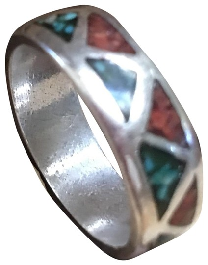Preload https://img-static.tradesy.com/item/22821598/turquoise-and-coral-inlay-band-ring-0-1-540-540.jpg