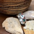 No Brand Turquoise and Coral Inlay Band Ring Image 4