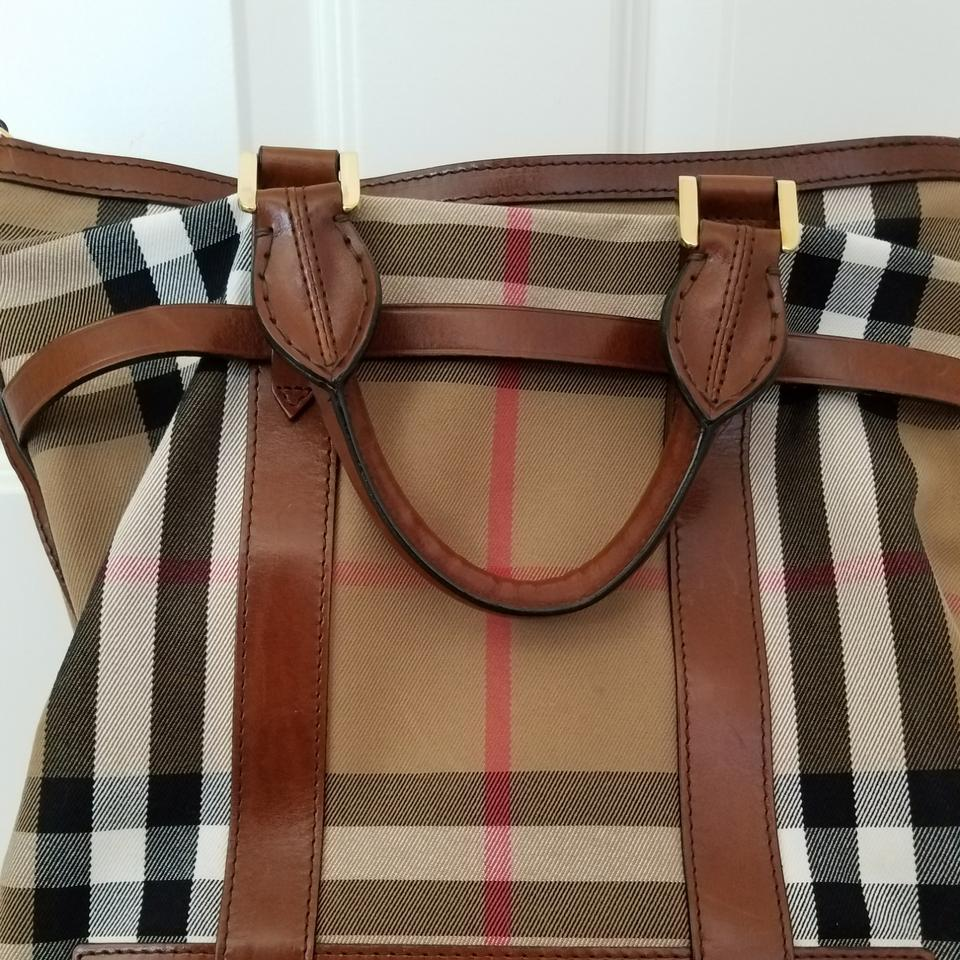 357798b2101f Burberry Prorsum Bridle House Check Medium  kenny  Dark Tan Material and  Leather Tote - Tradesy