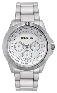 Unlisted by Kenneth Cole Mens Silver Stainless Band White Dial Watch UL1274