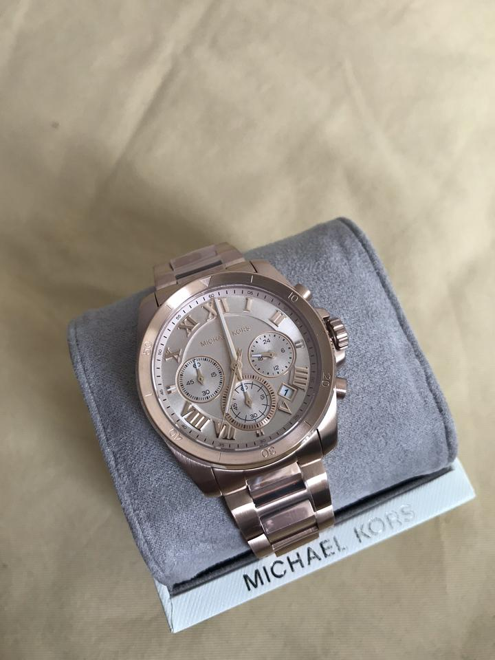 87bfc74092eb Michael Kors NWT Brecken Rose Gold-Tone Chronograph Watch Mk6367 Image 11.  123456789101112