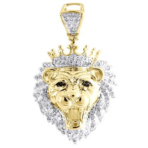 Jewelry For Less Diamond King Crown Lion Head Pendant .925 Sterling Silver Charm .36 Ct
