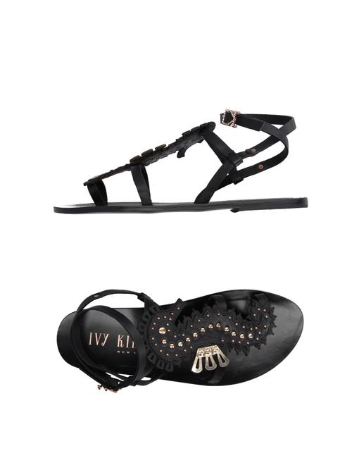 Item - Black Strappy Leather Seahorse Gold Studs New Sandals Size US 7.5 Regular (M, B)