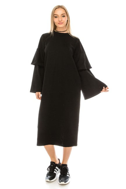Preload https://img-static.tradesy.com/item/22821989/black-double-layer-bell-sleeve-mid-length-casual-maxi-dress-size-6-s-0-0-650-650.jpg