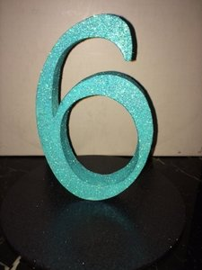 Teal Glitter Table Numbers On Black Bases