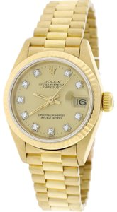 Rolex President Datejust Ladies Gold Factory Champagne Diamond 26MM 69178