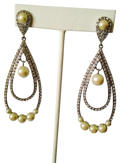 A.B.S. by Allen Schwartz NWOT Pave Swarovski Crystals In Rhodium Finish & Pearls Dangle Earrings