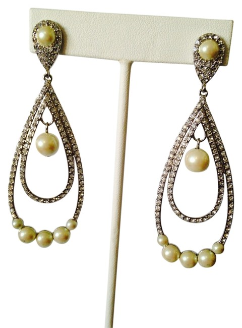 Item - Silver/White Nwot Pave Swarovski Crystals In Rhodium Finish & Pearls Dangle Earrings