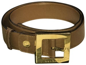 BVLGARI Bvlgari Brown Leather Belt with Gold Hardware- 32 inches