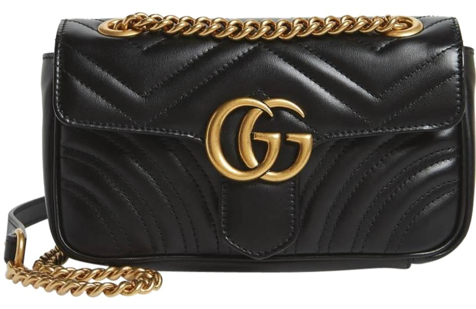eab1d1b1207 Gucci Marmont Small Gg 2.0 Matelassé Black Leather Shoulder Bag ...