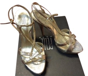 Pelle Moda Leather Snakeskin Platinum Platform Sparkle Silver/Gold Sandals