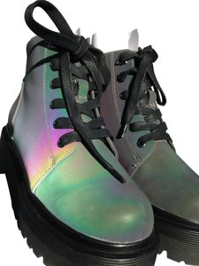 YRU Lace Up Ankle Combat Reflective Shiny Multi Boots