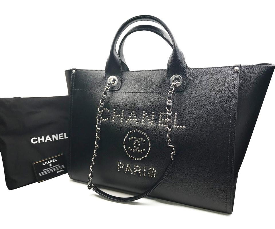 1374dad398b63c Chanel Deauville 18 Stud Large Black Caviar Leather Tote - Tradesy