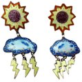 Other VTG enamel and sterling chandelier APRIL SHOWERS/MAY FLOWER earrings Image 0
