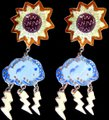 Other VTG enamel and sterling chandelier APRIL SHOWERS/MAY FLOWER earrings Image 10