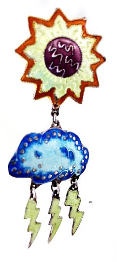 Other VTG enamel and sterling chandelier APRIL SHOWERS/MAY FLOWER earrings Image 3