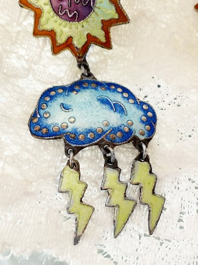 Other VTG enamel and sterling chandelier APRIL SHOWERS/MAY FLOWER earrings Image 5