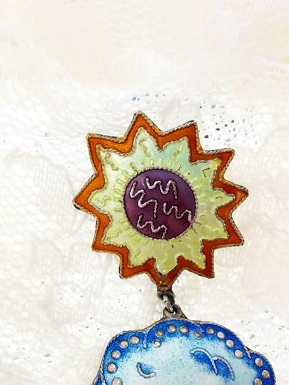 Other VTG enamel and sterling chandelier APRIL SHOWERS/MAY FLOWER earrings Image 8