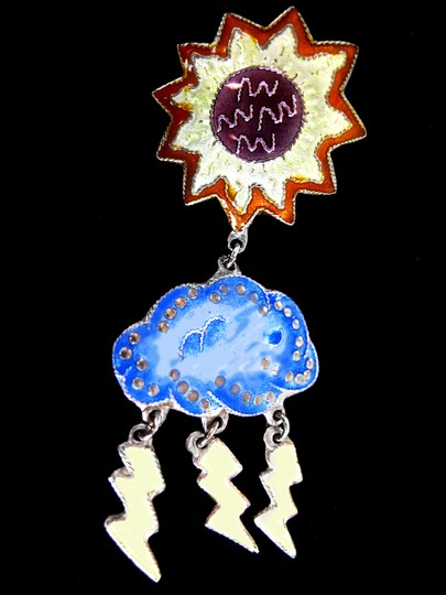 Other VTG enamel and sterling chandelier APRIL SHOWERS/MAY FLOWER earrings Image 9