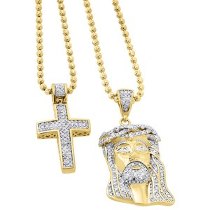Jewelry For Less 925 Sterling Silver Diamond Mini Jesus Pendant and Cross Set .88 Ct