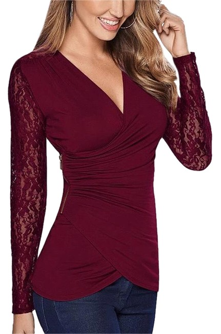 Item - Red Wine Women Long Sleeve Lace Asymmetrical Blouse Size 8 (M)