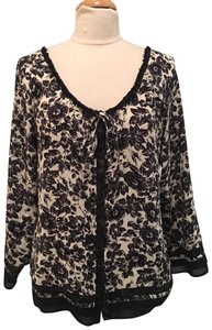 Joie Silk Floral Flowy Top Black and Cream