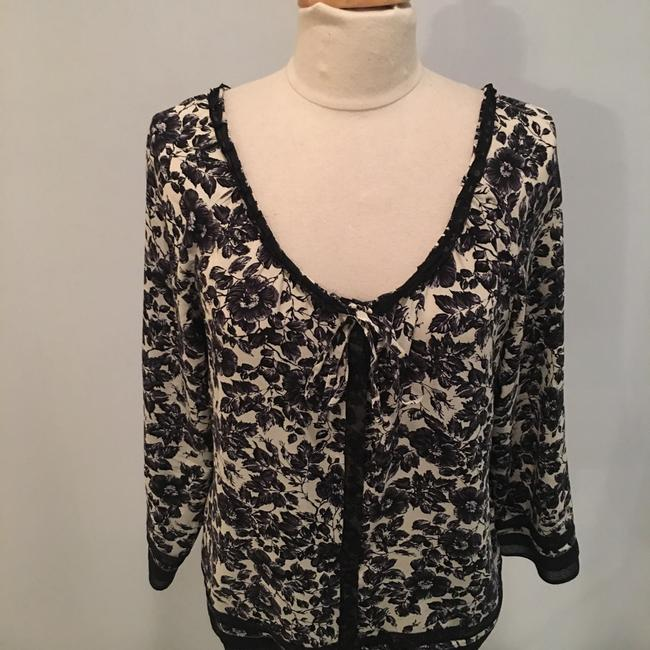 Joie Silk Floral Flowy Top Black and Cream Image 1