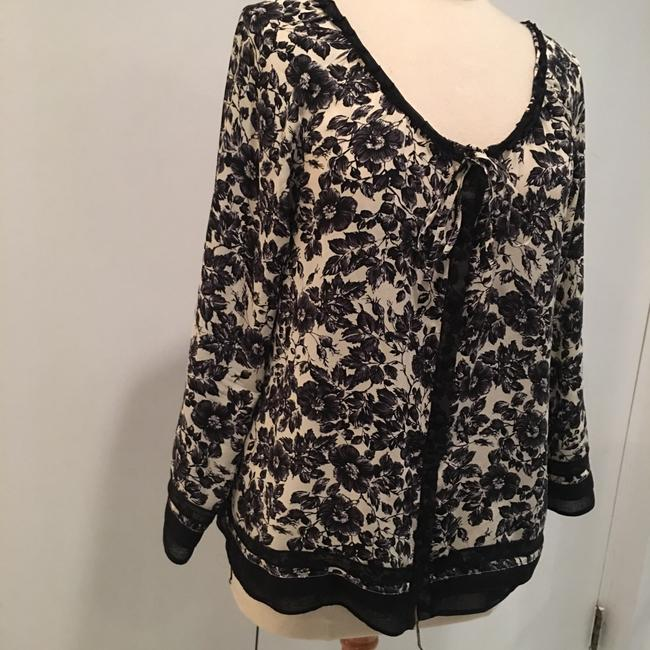 Joie Silk Floral Flowy Top Black and Cream Image 2