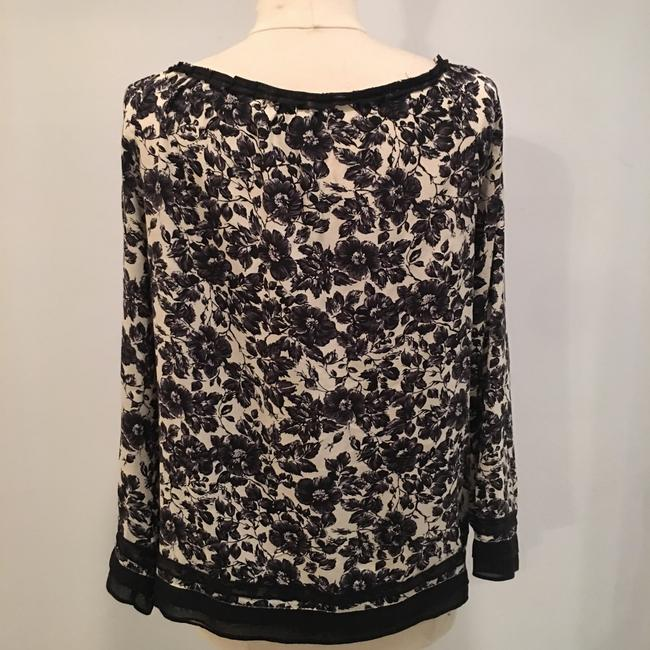 Joie Silk Floral Flowy Top Black and Cream Image 4
