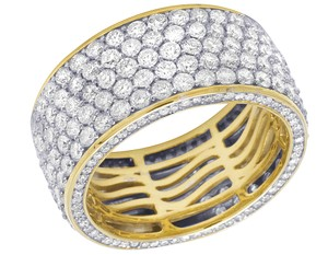 Jewelry Unlimited Mens 14K Yellow Gold 3 Row 3D Iced Diamond Wedding Eternity Ring 5.8CT