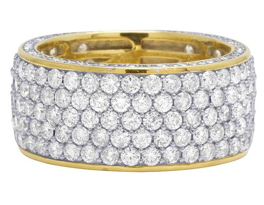 Jewelry Unlimited Mens 14K Yellow Gold 3 Row 3D Iced Diamond Wedding Eternity Ring 5.8CT Image 1