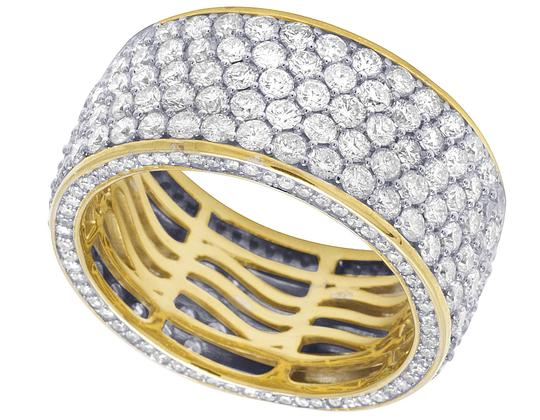 Jewelry Unlimited Mens 14K Yellow Gold 3 Row 3D Iced Diamond Wedding Eternity Ring 5.8CT Image 2