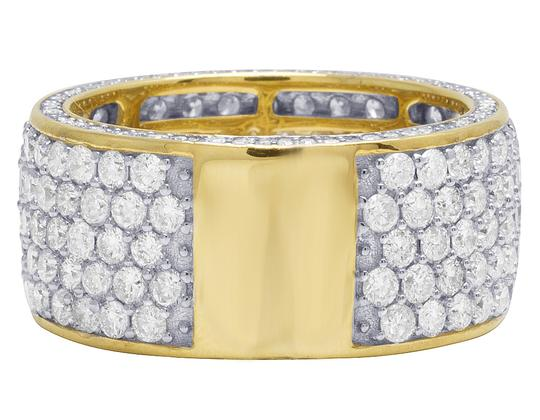 Jewelry Unlimited Mens 14K Yellow Gold 3 Row 3D Iced Diamond Wedding Eternity Ring 5.8CT Image 3