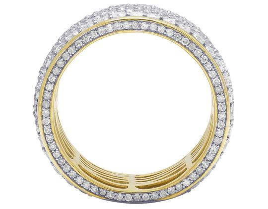 Jewelry Unlimited Mens 14K Yellow Gold 3 Row 3D Iced Diamond Wedding Eternity Ring 5.8CT Image 4