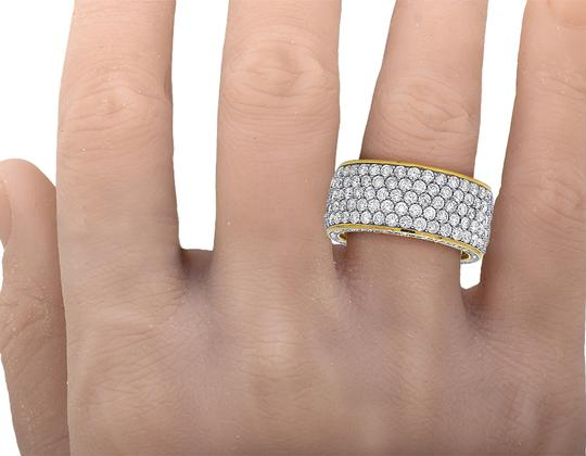 Jewelry Unlimited Mens 14K Yellow Gold 3 Row 3D Iced Diamond Wedding Eternity Ring 5.8CT Image 5